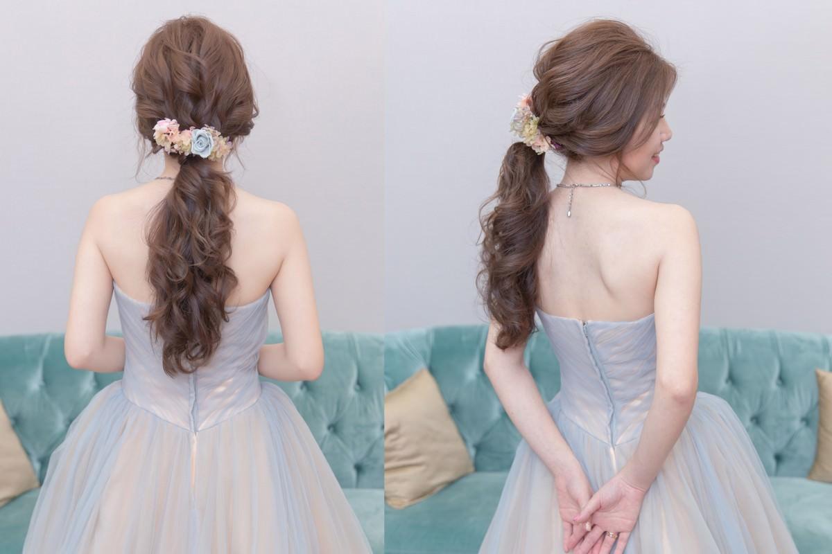新娘秘書|新秘|新娘造型|台北新秘|新娘髮型|格萊薇庭|低馬尾造型|不凋花造型|wedding hairstyle