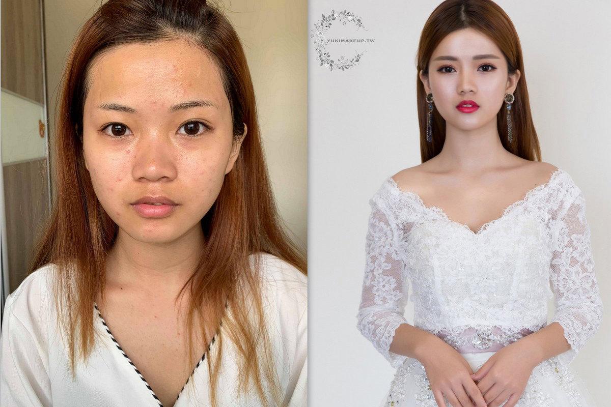 新秘素人改造-新娘妝感重點-痘痘肌遮瑕、五官立體度重建、雙眼皮調整、光澤感提昇