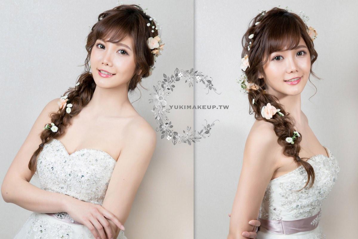 新娘秘書|新秘|新娘造型|桃園新秘|新娘髮型|新娘妝容|wedding hairstyle|鮮花造型|C型瀏海|白紗造型|送客造型