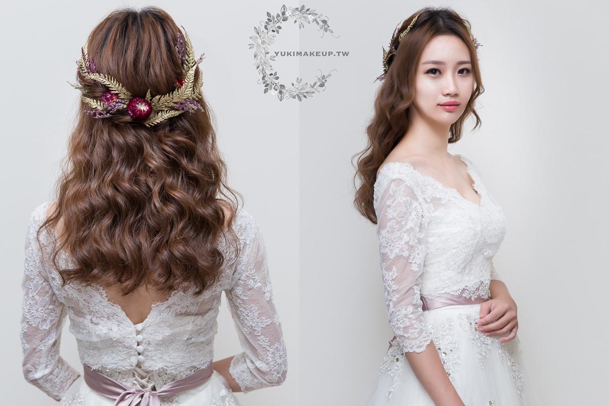 新娘秘書,新秘,新娘造型,台北新秘,白紗造型,新娘髮型, 花頭飾造型,新娘妝容,wedding hairstyle, bridal hair flowers
