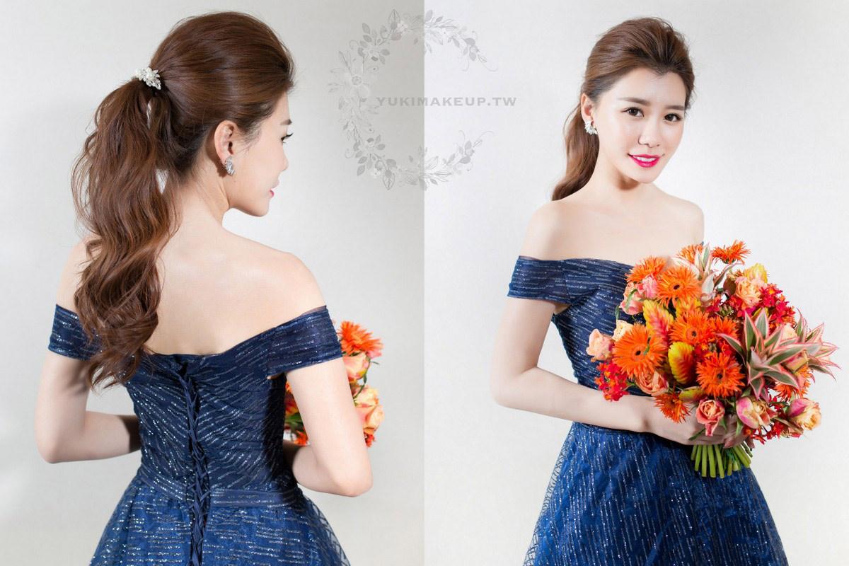 藍色禮服|新娘秘書,新秘,新娘造型,新娘髮型, 高馬尾造型,新娘妝容,wedding hairstyle, All Back造型
