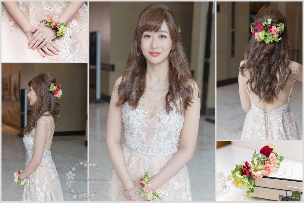 |橘色禮服|新娘秘書|新秘|新娘造型|新娘髮型|台北新秘|C型瀏海|新娘妝容|wedding hairstyle|鮮花造型
