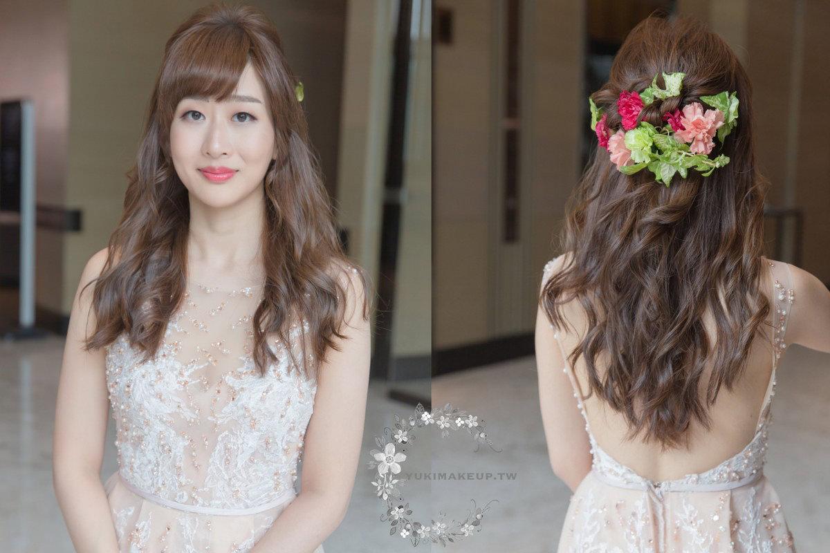 新娘秘書|新秘|新娘造型|新娘髮型|台北新秘|C型瀏海|新娘妝容|橘色禮服|wedding hairstyle|鮮花造型