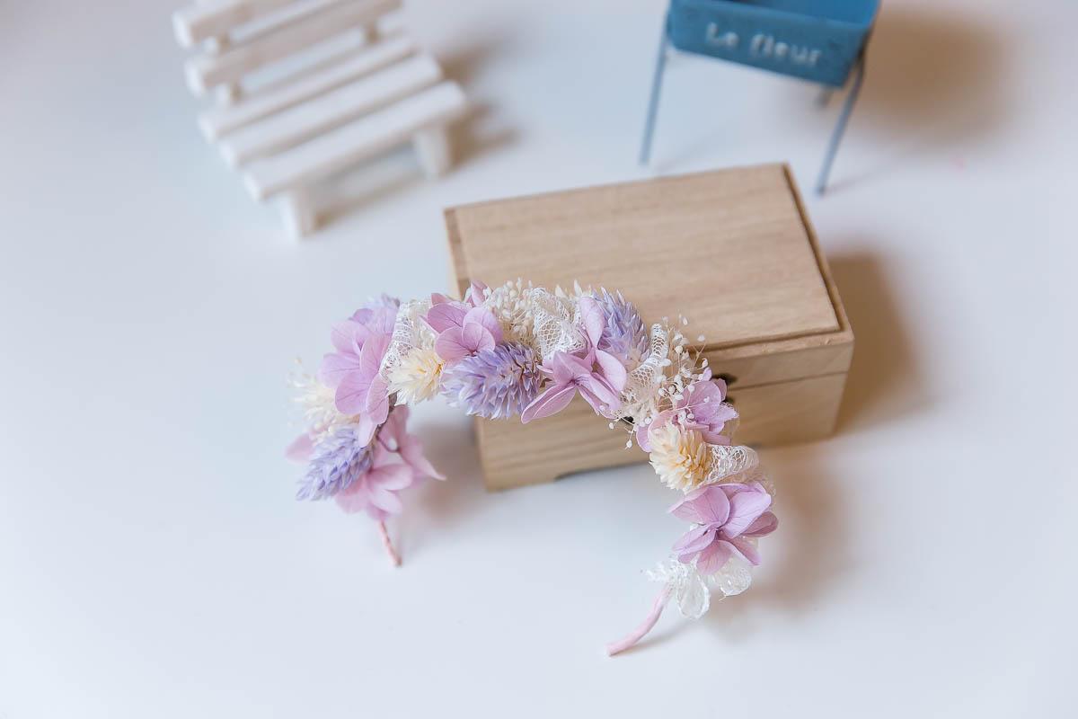 柔美風格粉紫色乾燥花混不凋花伴娘手腕花