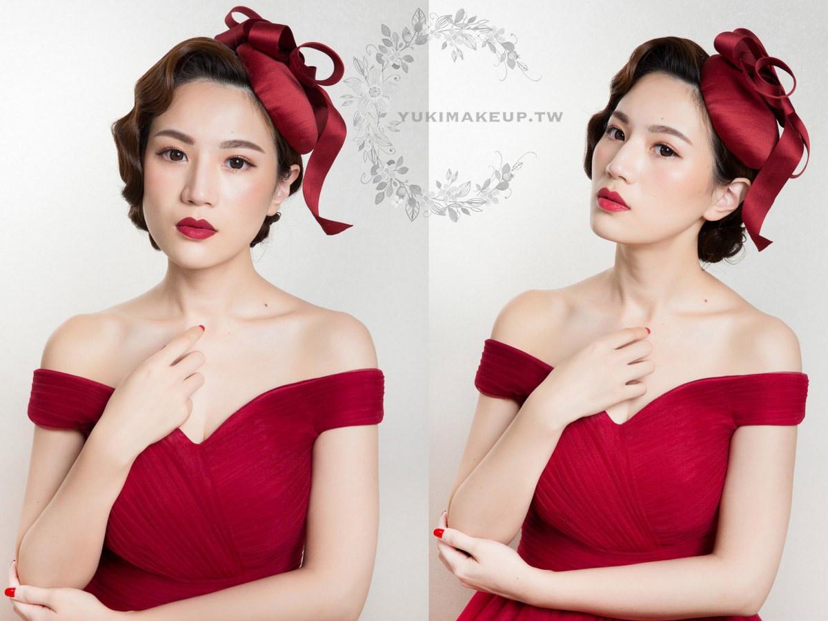 新娘秘書|新秘|新娘造型|新娘髮型|復古造型|新娘妝容|高雄新秘|wedding hairstyle|手推波造型|NARS #INFATUATED RED
