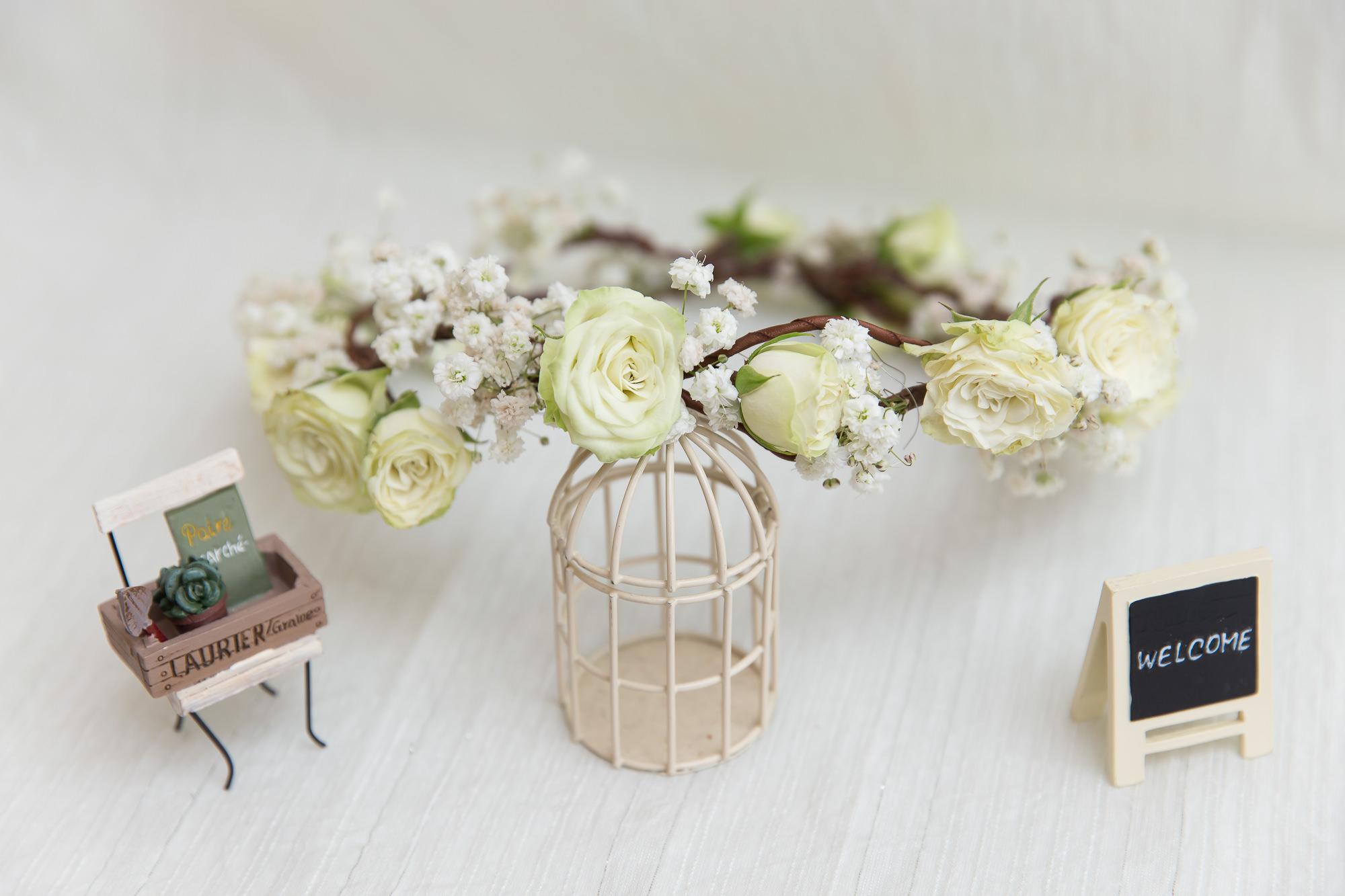 鮮花花環|黃色小玫瑰花環
