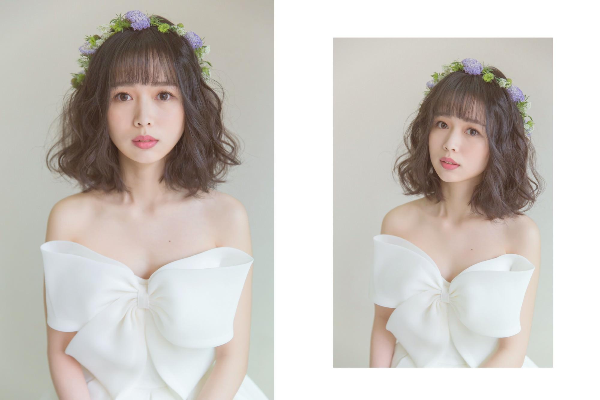 不很新娘的新娘造型,輕日系的黑髮短髮花環造型