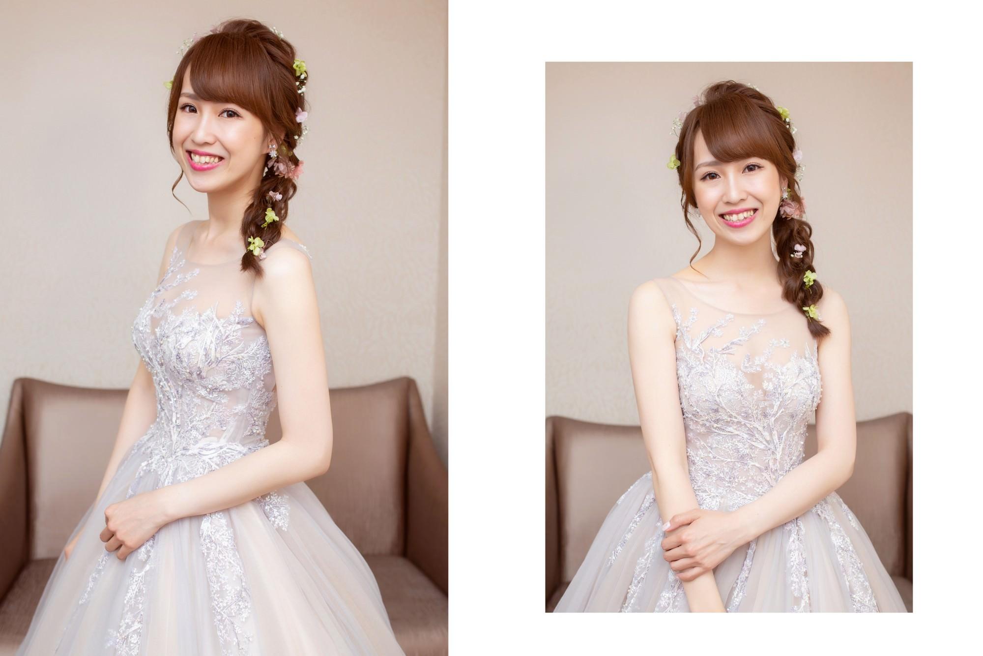 新娘秘書,新秘,新娘造型,編髮造型,新娘髮型,新娘妝容, 側邊編髮造型,wedding hairstyle, 小碎花造型, 新秘YUKI, 藕色禮服