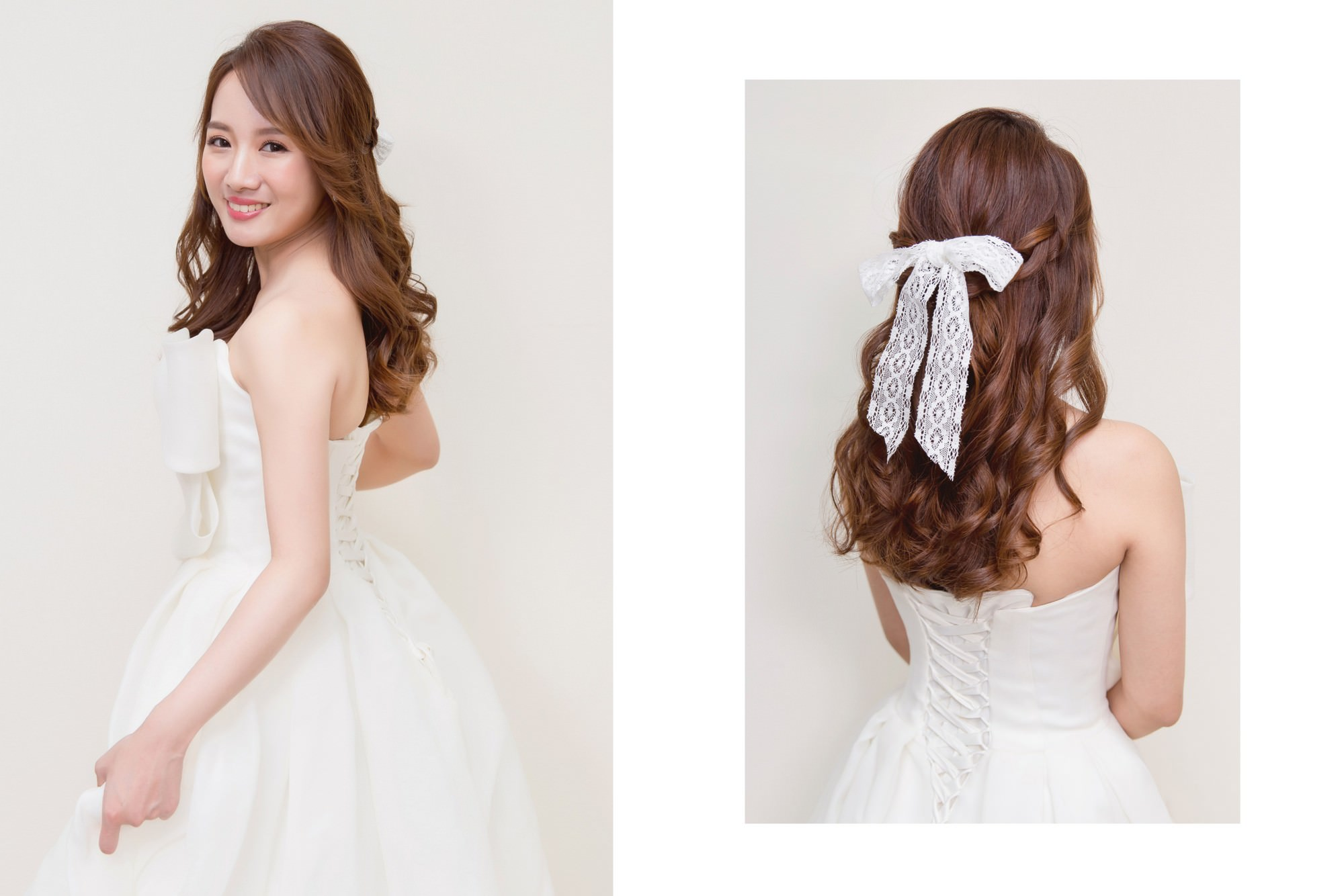編髮加上蝴蝶結。公主風格的公主頭造型