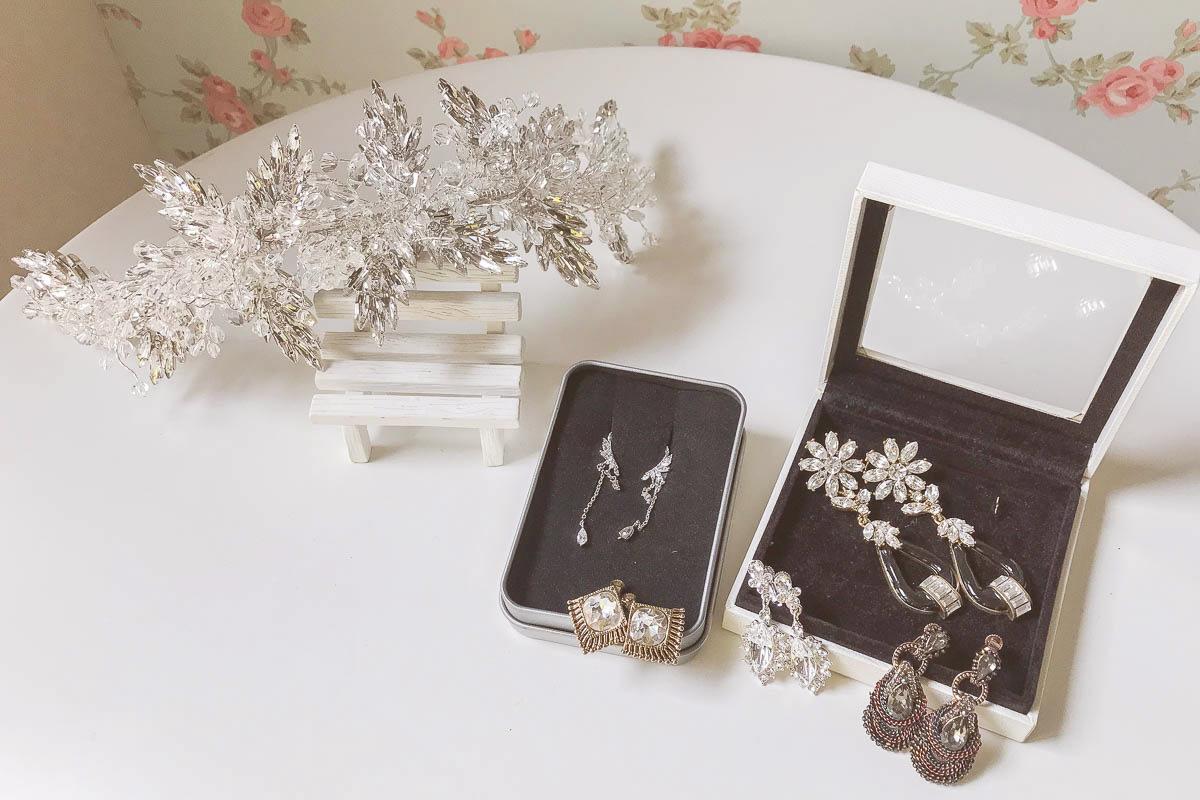 新娘飾品|夾式耳環及馬眼鑽華麗風頭飾