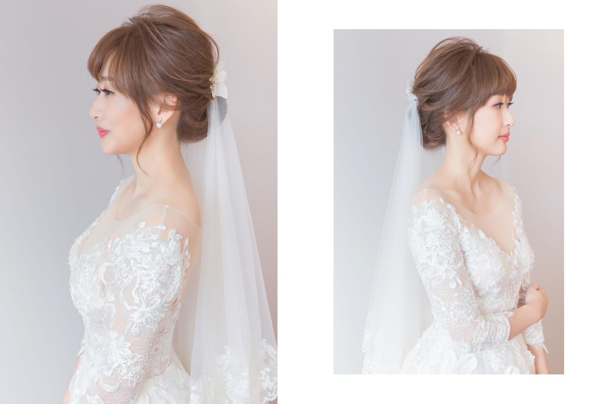 新娘秘書|新秘|新娘造型|白紗造型|新娘髮型|台北新秘|盤髮造型|C型瀏海|新娘妝容|wedding hairstyle|鮮花造型