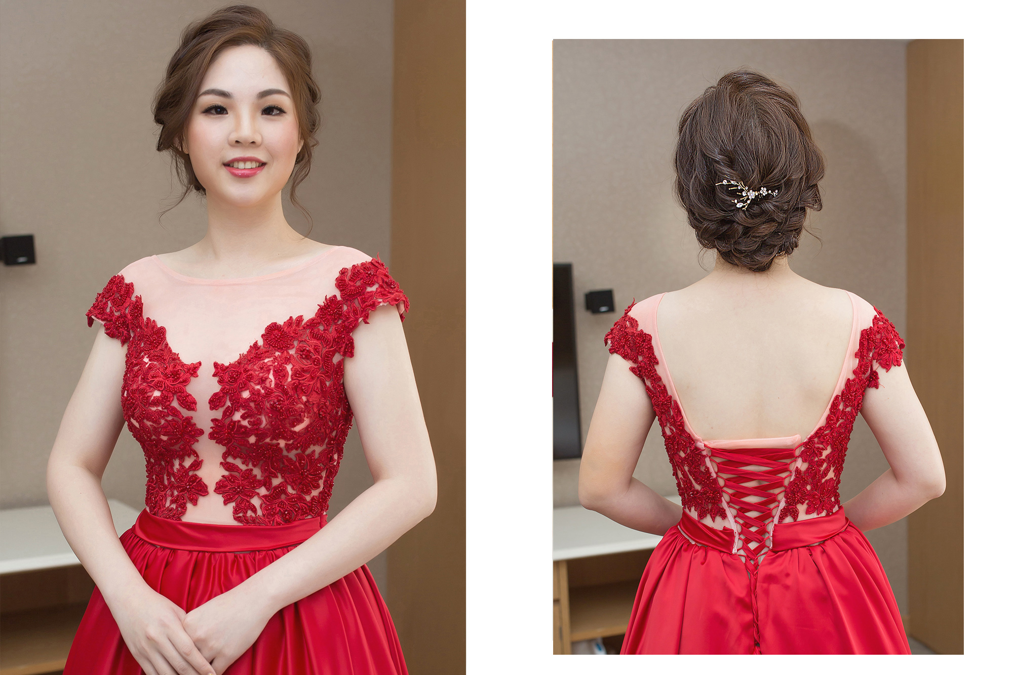 新秘Yuki,新娘秘書,新秘,新娘造型,文定造型,新娘髮型, 紅色禮服, 單眼皮新娘, 髮量少新娘, 台北新秘