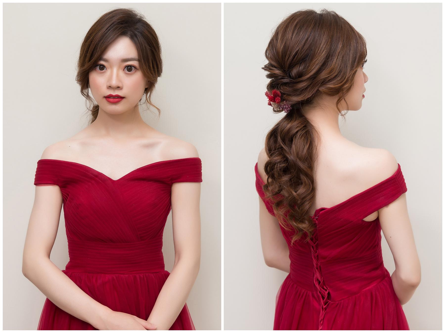新秘Yuki,新娘秘書,新秘,新娘造型, 紅色禮服,新娘髮型, 低馬尾造型, 香奈兒超炫耀絲絨唇露#160,高雄新秘, 乾燥花造型