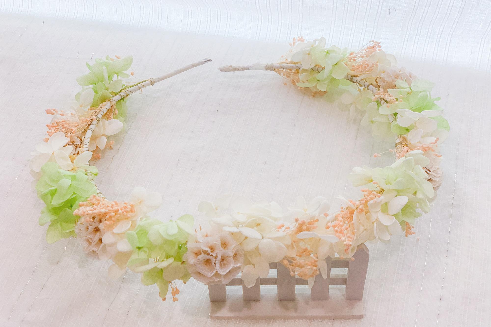 日系清新風白綠色花環