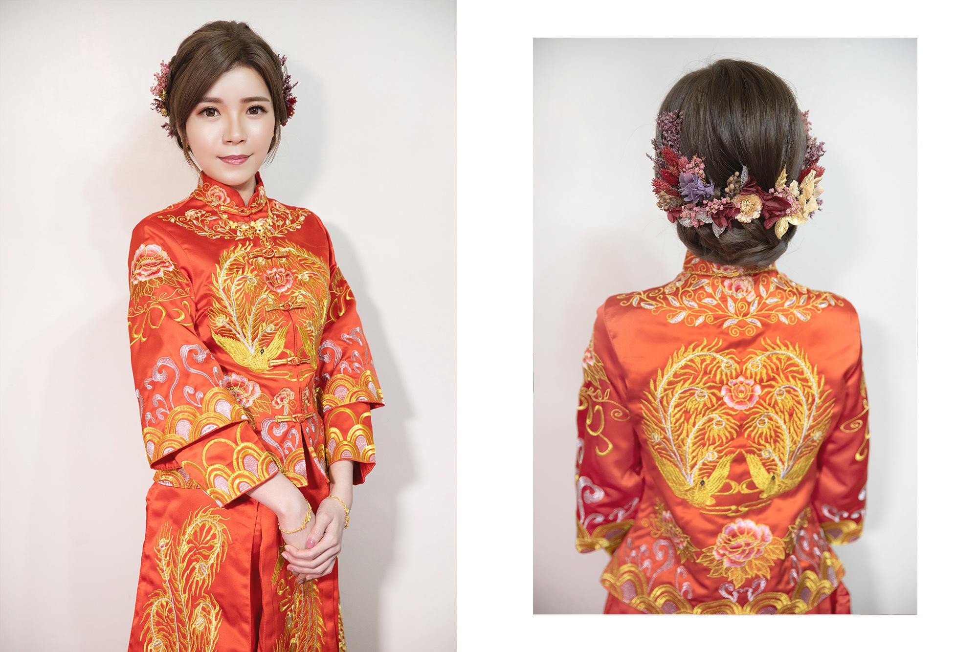 新秘Yuki|新娘造型, 新娘髮型,高雄新秘,秀禾服,秀禾服造型,中式禮服,CHANEL超炫耀絲絨唇露#186,中式造型, 花頭飾, 乾燥花造型