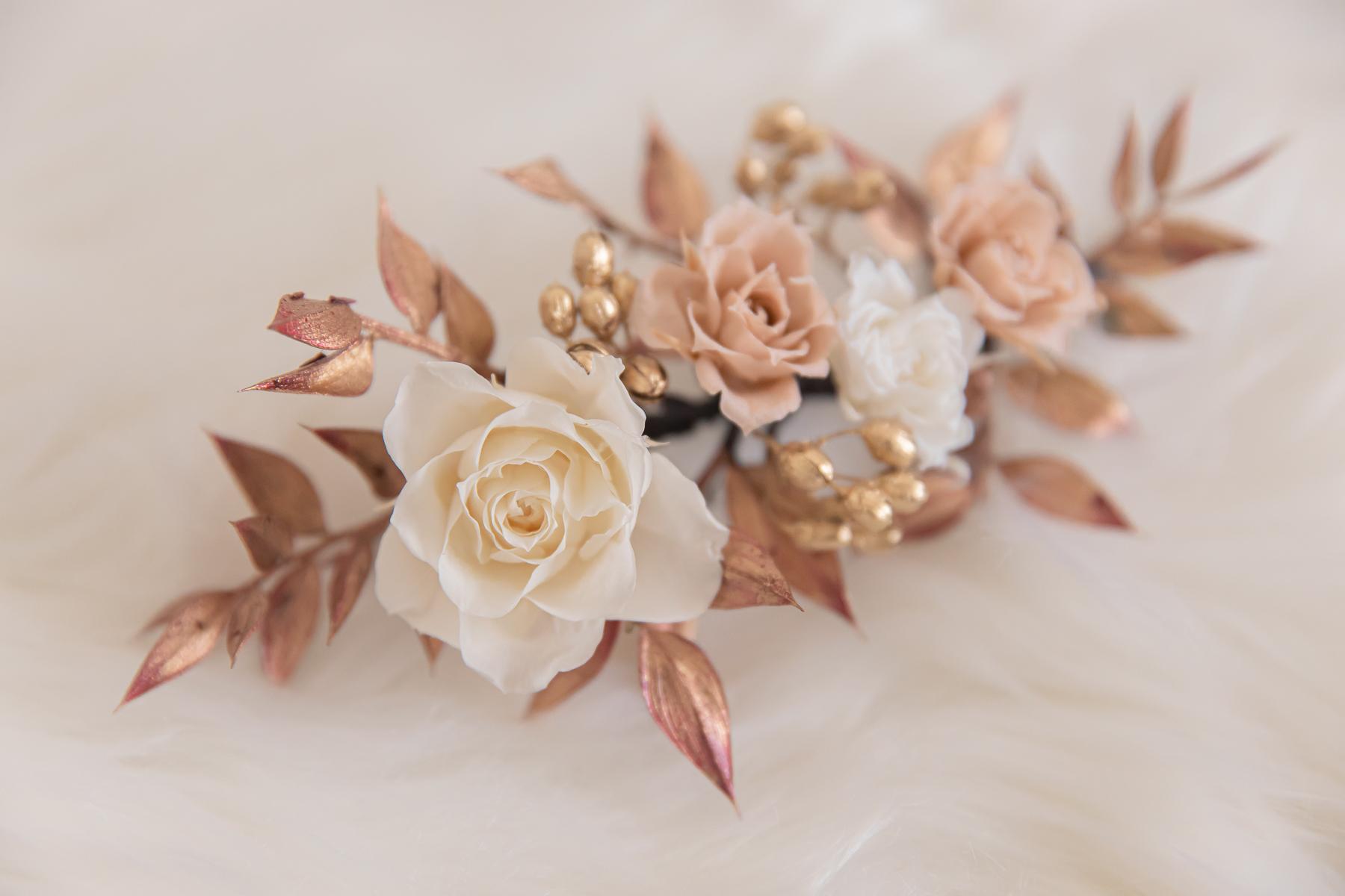 高雄不凋花頭飾|微華麗的玫瑰金永生花頭飾