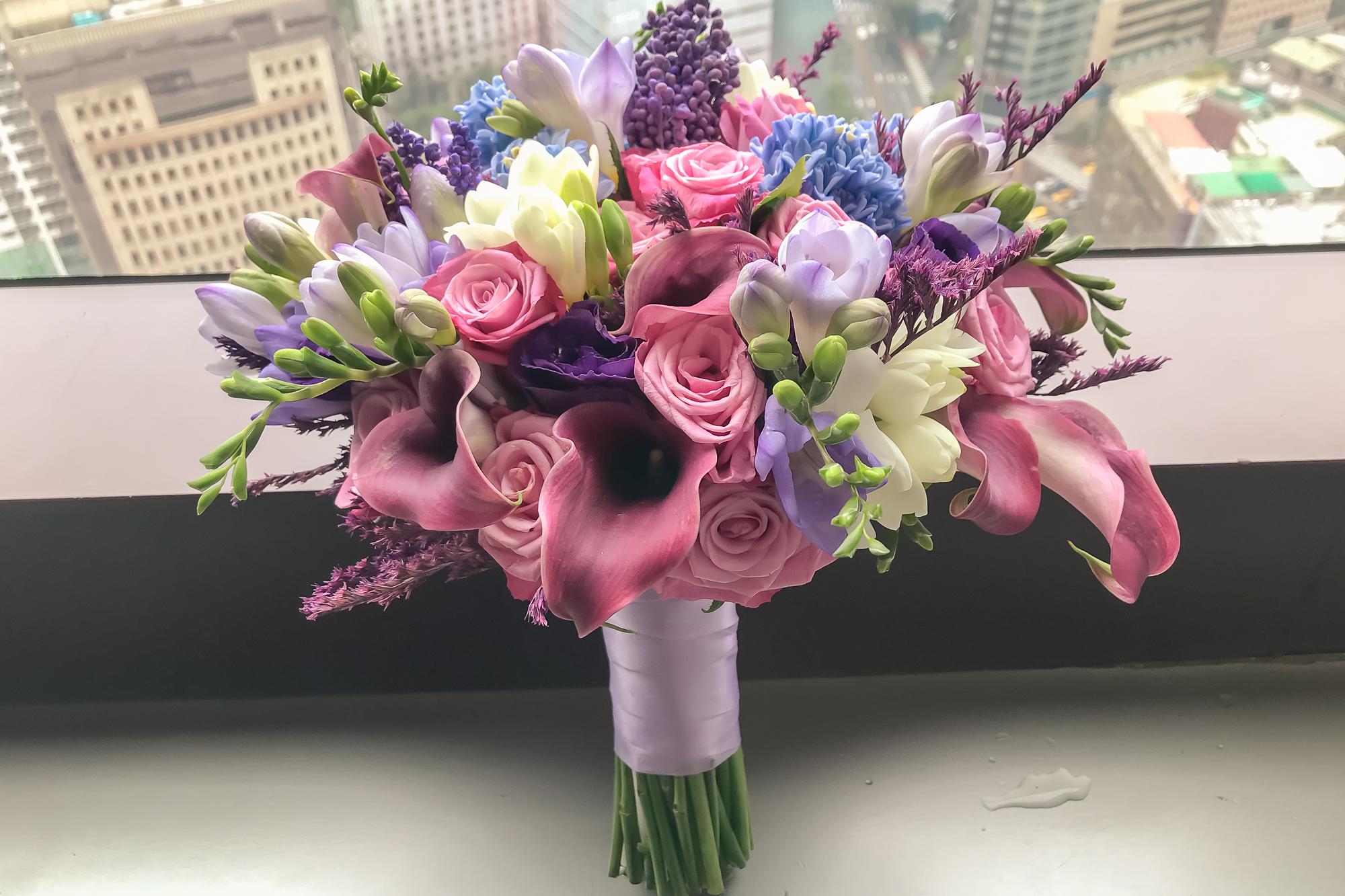 新娘捧花、高雄捧花、新秘、新秘Yuki、鮮花捧花、紫色系新娘捧花