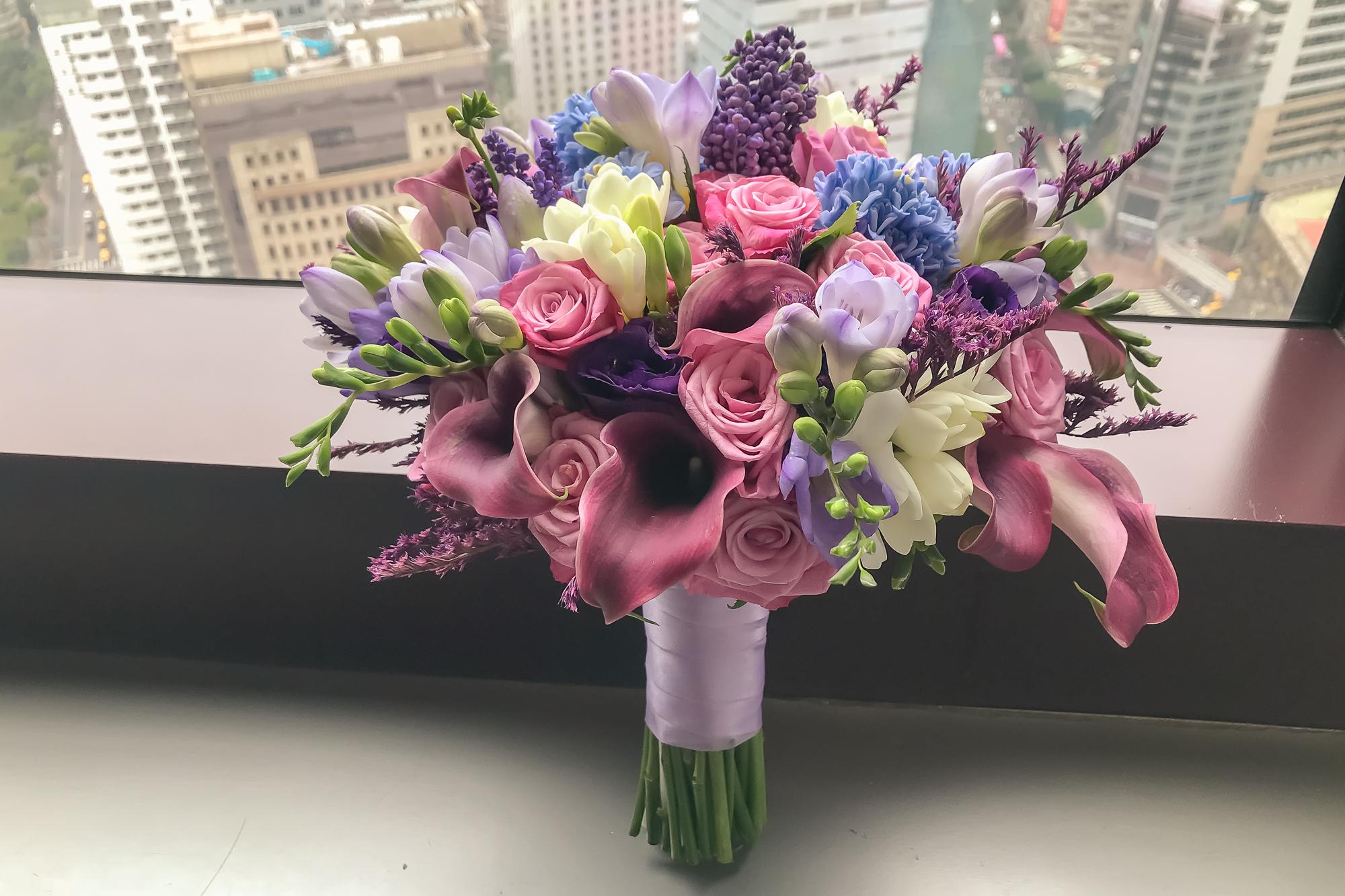 紫色系新娘捧花