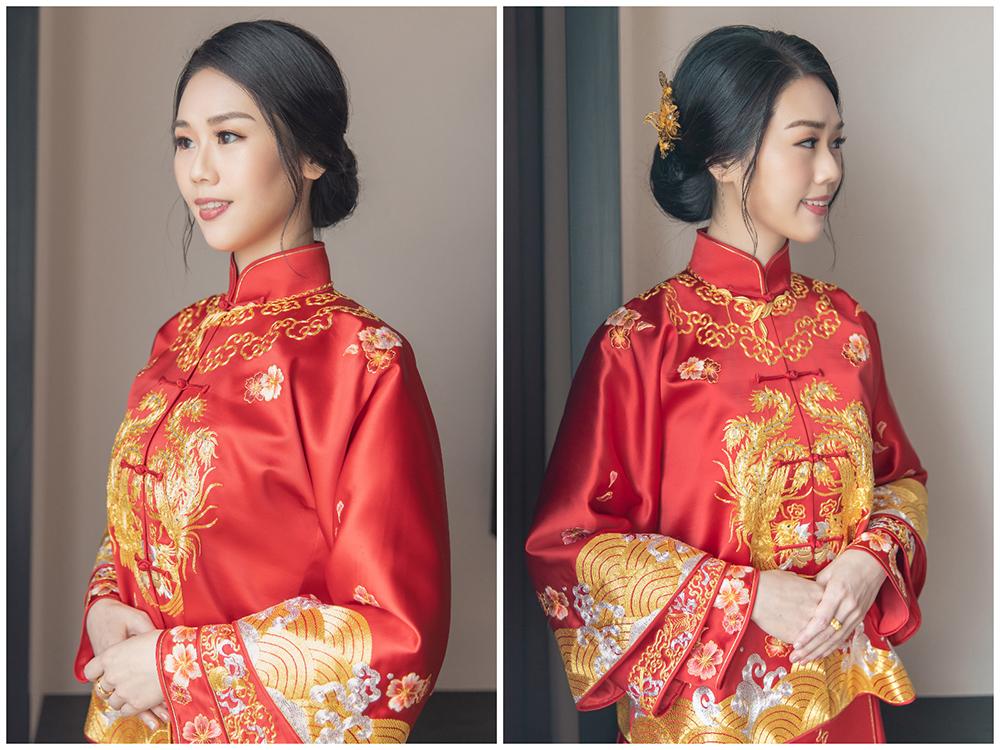 新娘造型,新娘髮型,高雄新秘,秀禾服,秀禾服造型,中式禮服,中式造型 低髮髻盤髮,褂頭, 細軟髮新娘, 龍鳳褂造型