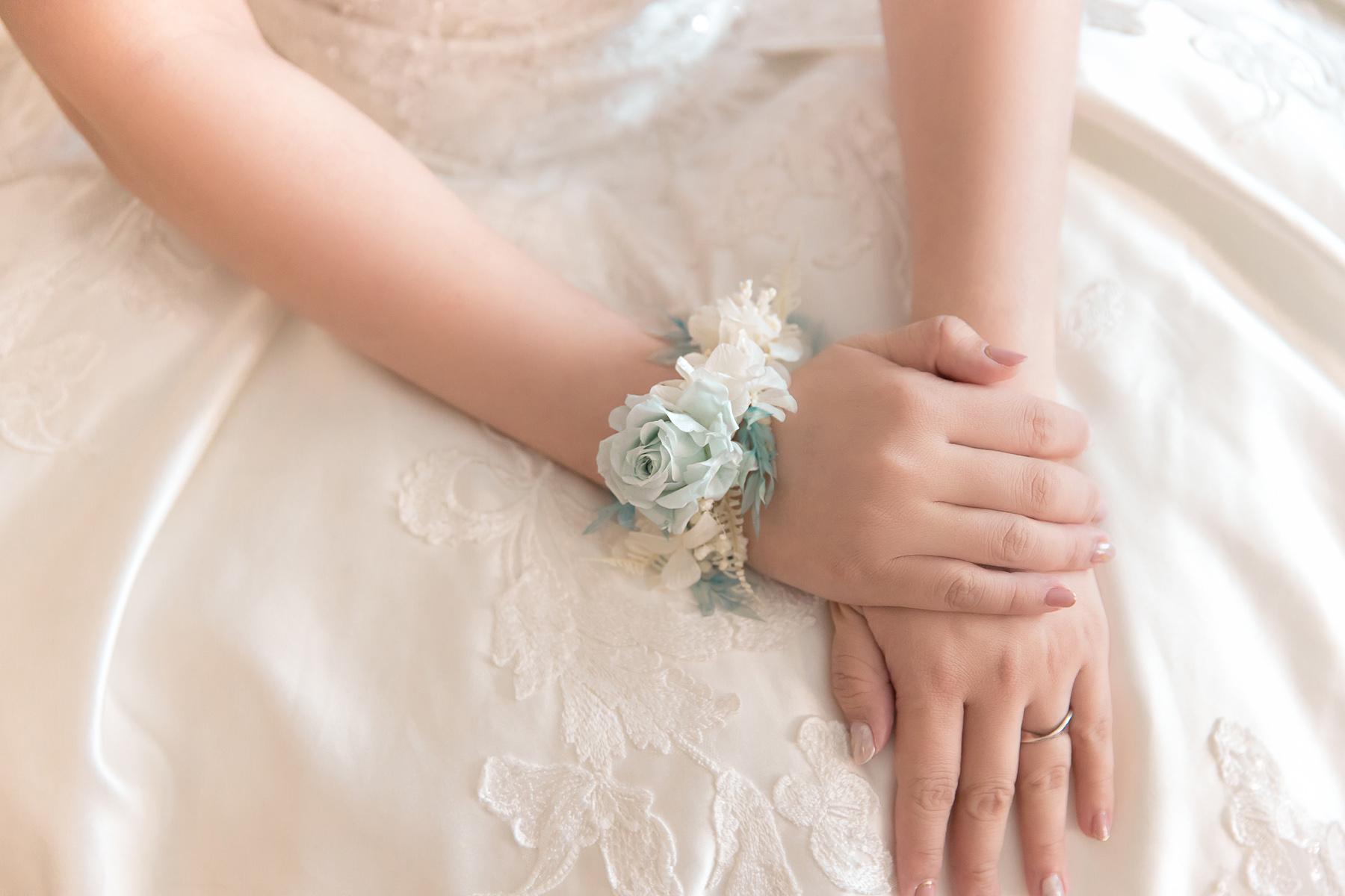 新秘Yuki,新娘手腕花,鮮花新秘, 永生花花手腕花,不凋花飾品,不凋花手腕花