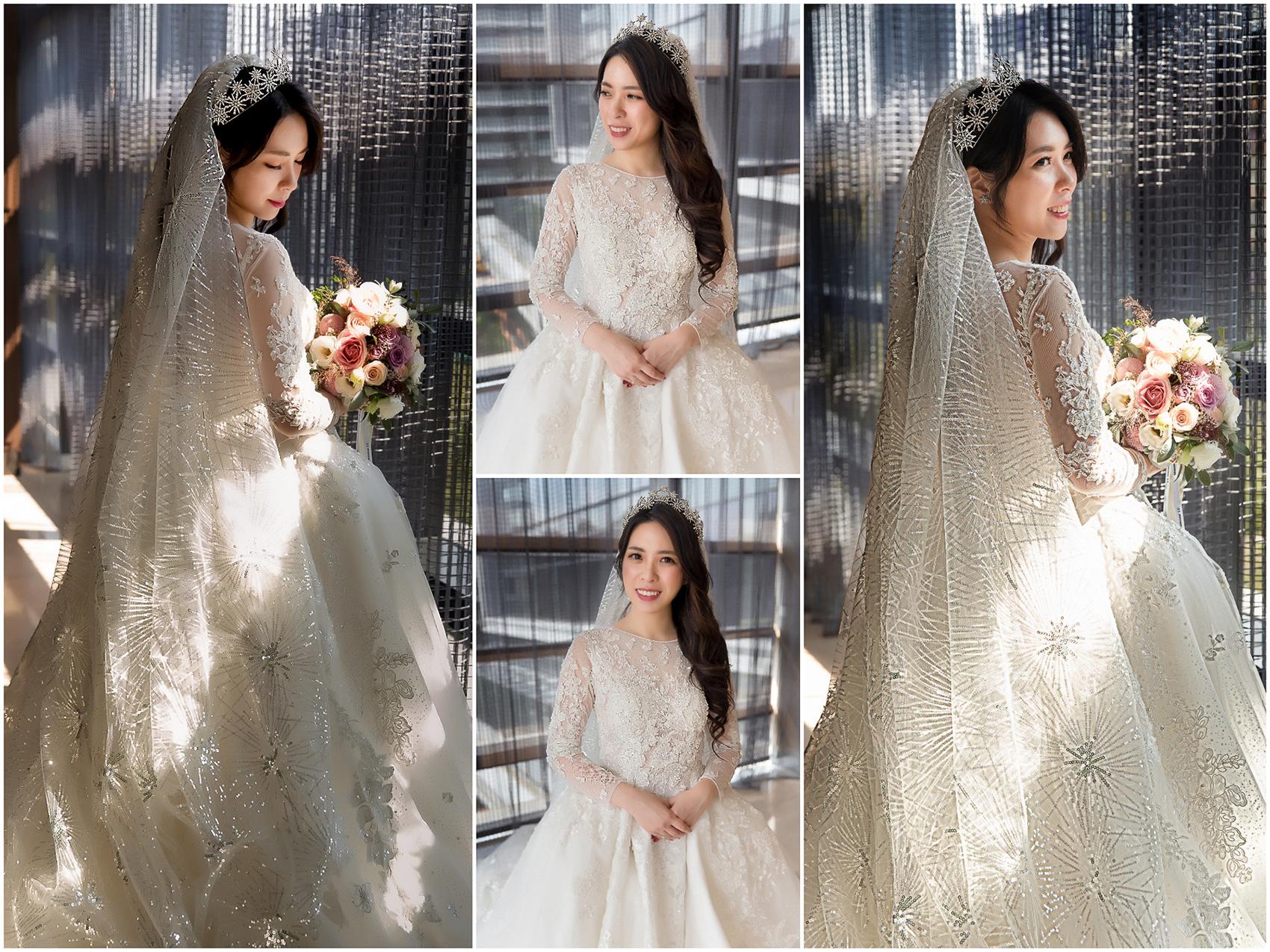 新秘Yuki,新娘秘書,新秘,新娘造型,白紗造型,新娘髮型,長頭紗,皇冠造型,新娘妝容,高雄新秘, 萬豪酒店,西敏英國手工婚紗