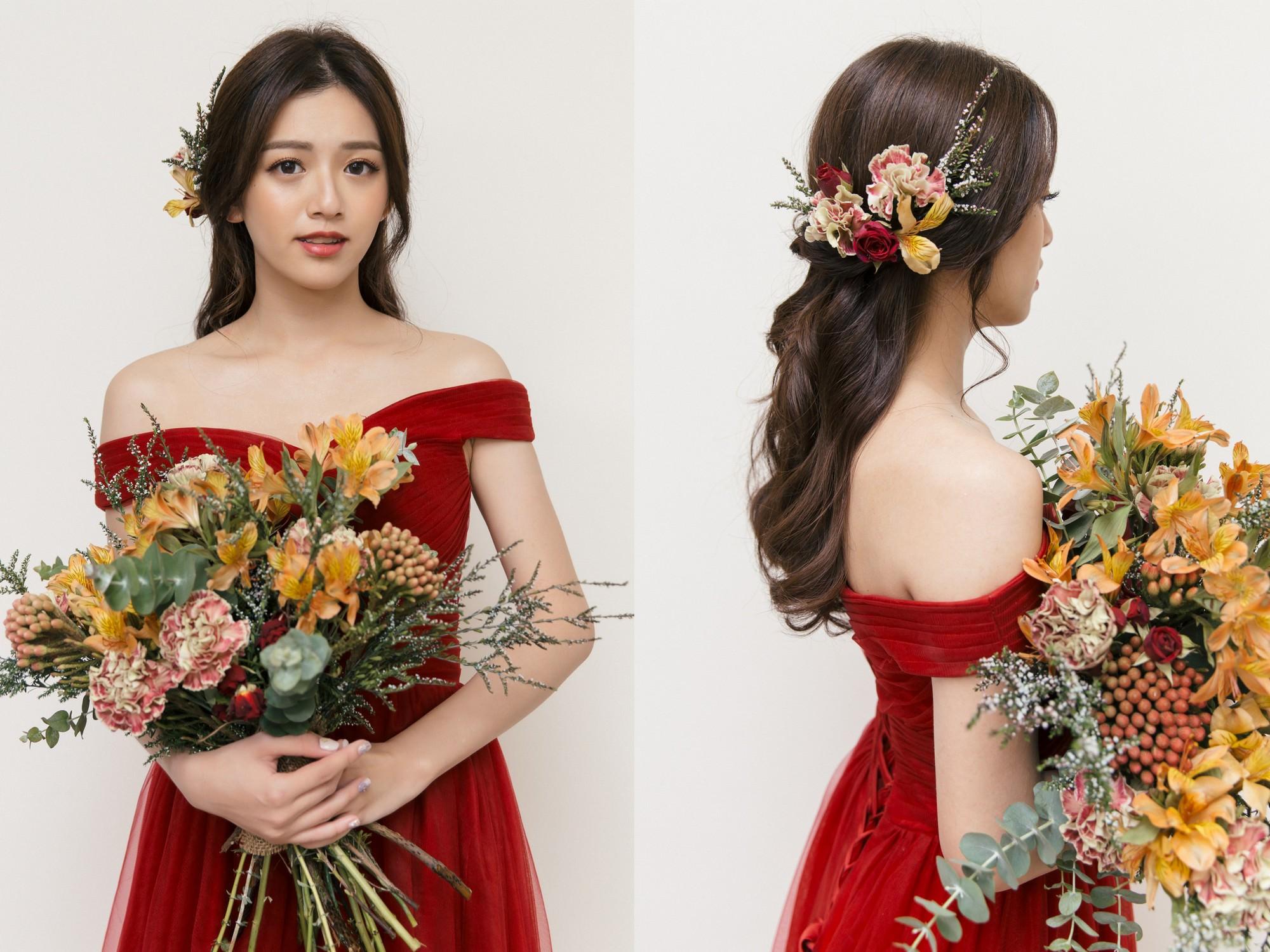 紅色禮服|新娘秘書|新秘|新娘造型|鮮花造型|新娘髮型|膚色黑|新娘妝容|高雄新秘|wedding hairstyle, 古銅肌新娘|