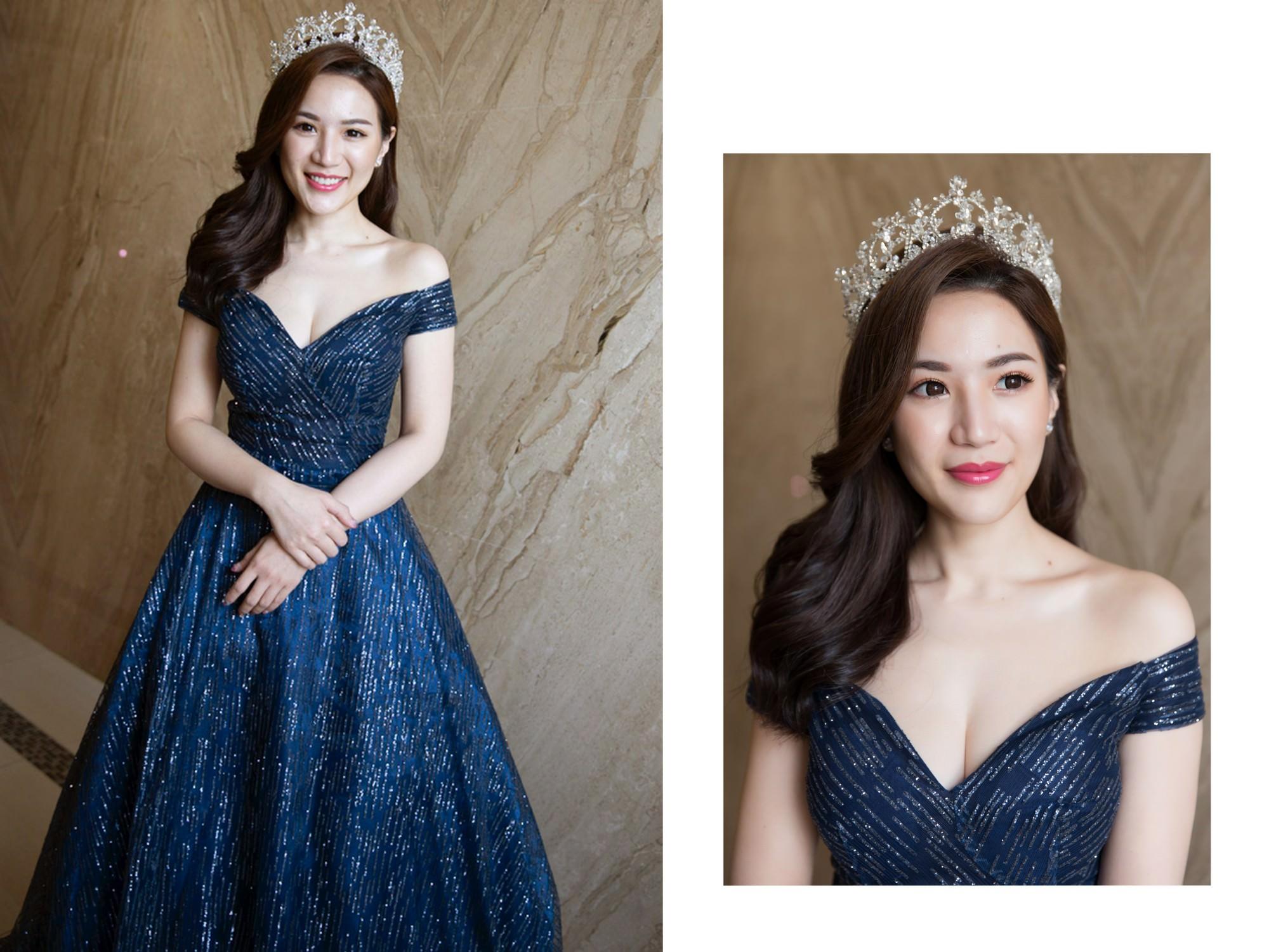 新娘秘書|新秘|新娘造型| 藍色禮服| 新娘髮型| 新娘妝容| 高雄新秘| 側邊髮造型|皇冠造型|輕熟女風格