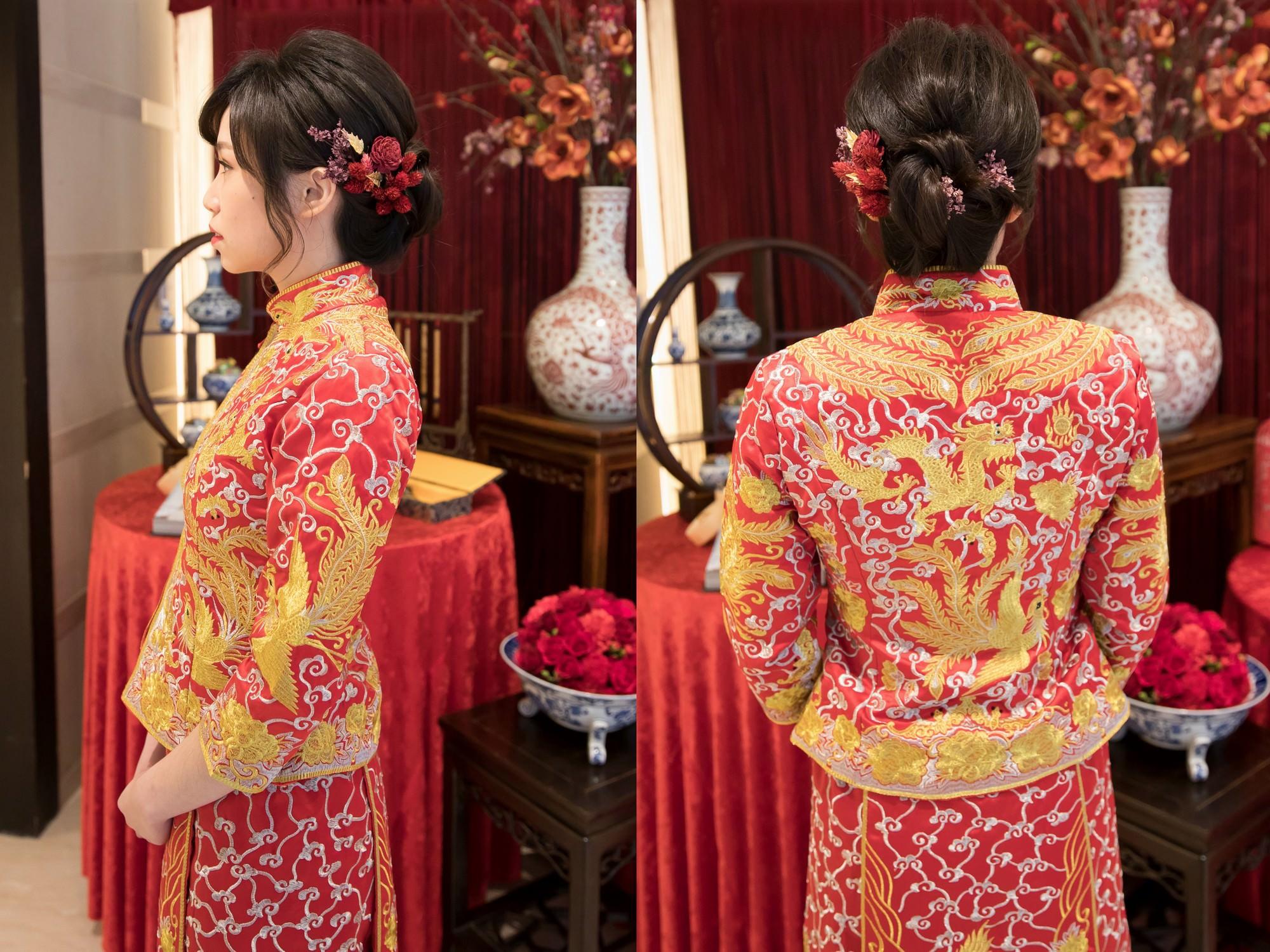 新娘造型,台北新秘,新娘髮型,中式禮服,龍鳳褂造型,褂頭,龍鳳褂髮型,龍鳳褂|故宮晶華|新秘Yuki