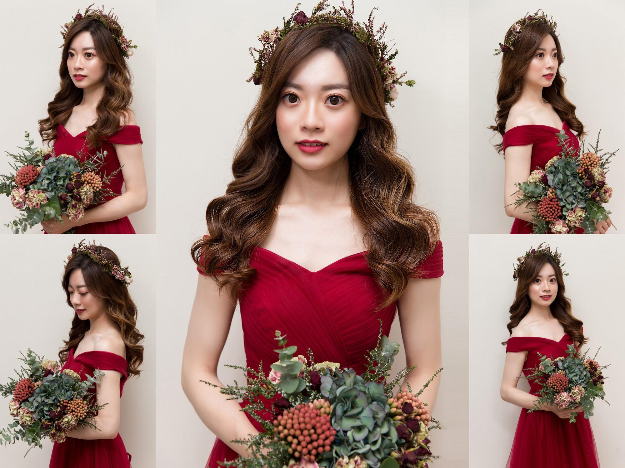 新秘Yuki, 新娘秘書, 新秘, 新娘造型, 紅色禮服, 新秘推薦, 花環造型, 高雄新秘, 紅色花環