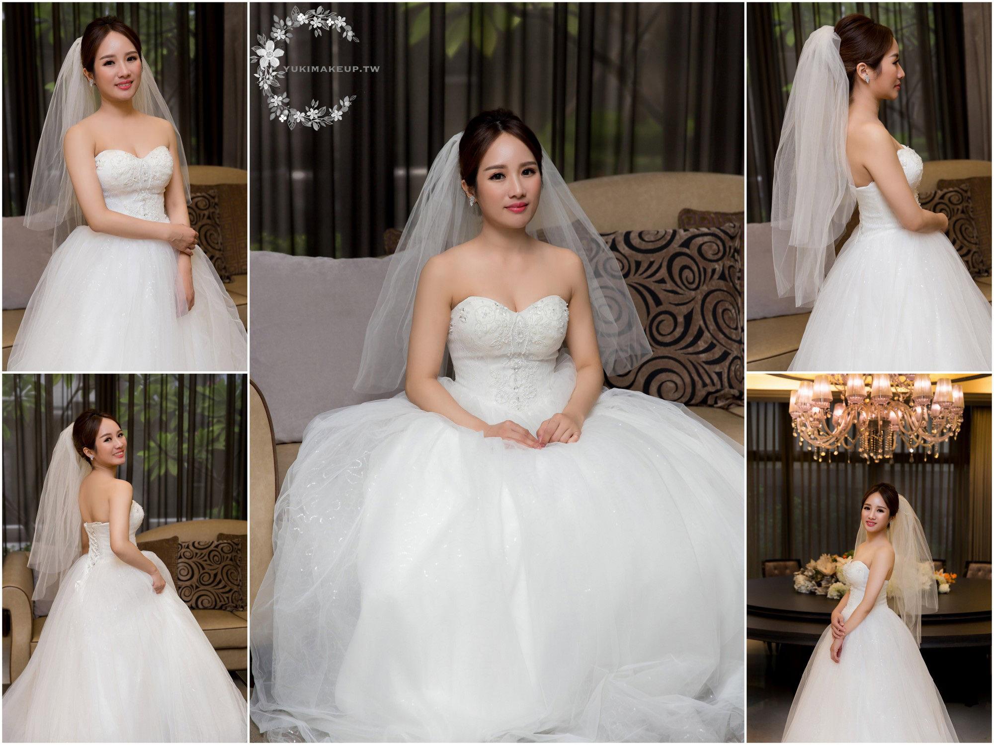 新娘秘書,新秘,新娘造型,新娘髮型, 白紗造型, 頭紗造型,高雄新秘,素人改造,千金小姐look,妝前妝後, 新秘Yuki