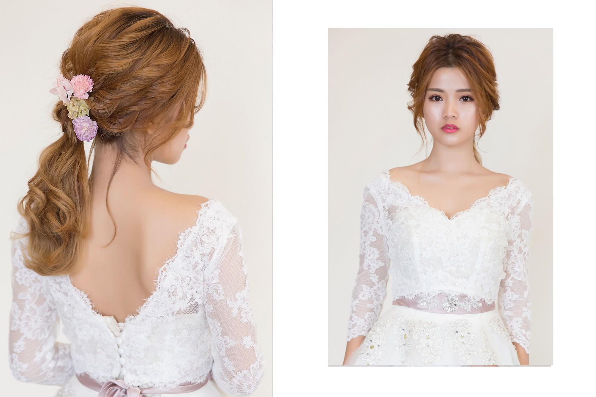 新秘Yuki,新娘秘書,新秘,新娘造型,白紗造型,新娘妝容,高雄新秘, 新娘染髮, 低馬尾造型, V領蕾絲罩衫,不凋花造型