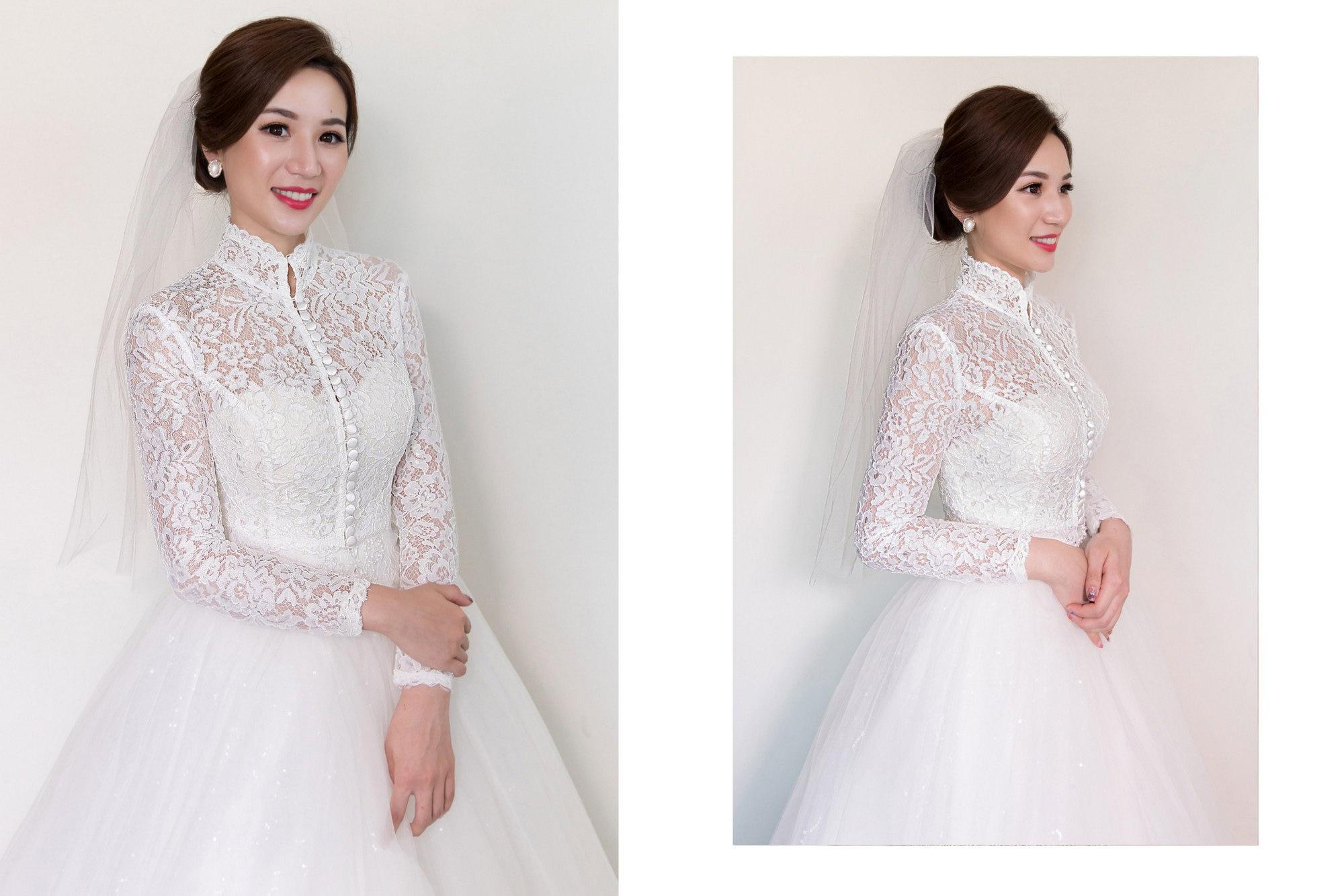 蕾絲高領白紗造型怎麼選?搭配優雅的法式低盤髮及素頭紗最合適