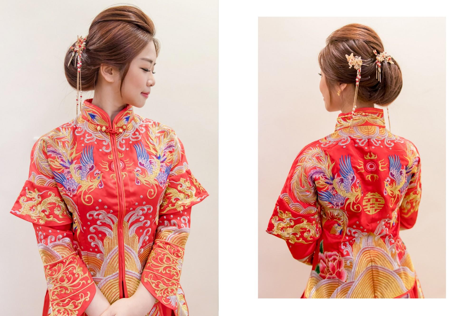 新娘造型,台北新秘,新娘髮型, 低髮髻造型,中式禮服,龍鳳褂造型,褂頭,龍鳳褂髮型,龍鳳褂