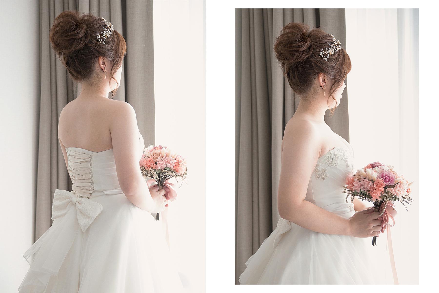 新娘造型, 台北新秘, 新娘髮型, 高雄新秘, 白紗造型, 高盤髮, 丸子頭, 萬豪酒店