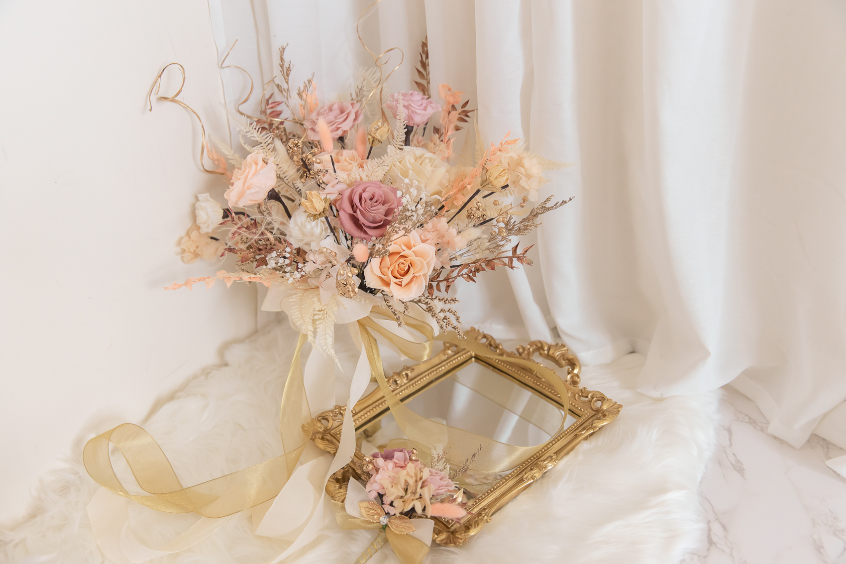 新娘捧花,粉色系捧花,捧花新秘,不凋花捧花,高雄捧花, 高雄永生花, 高雄不凋花