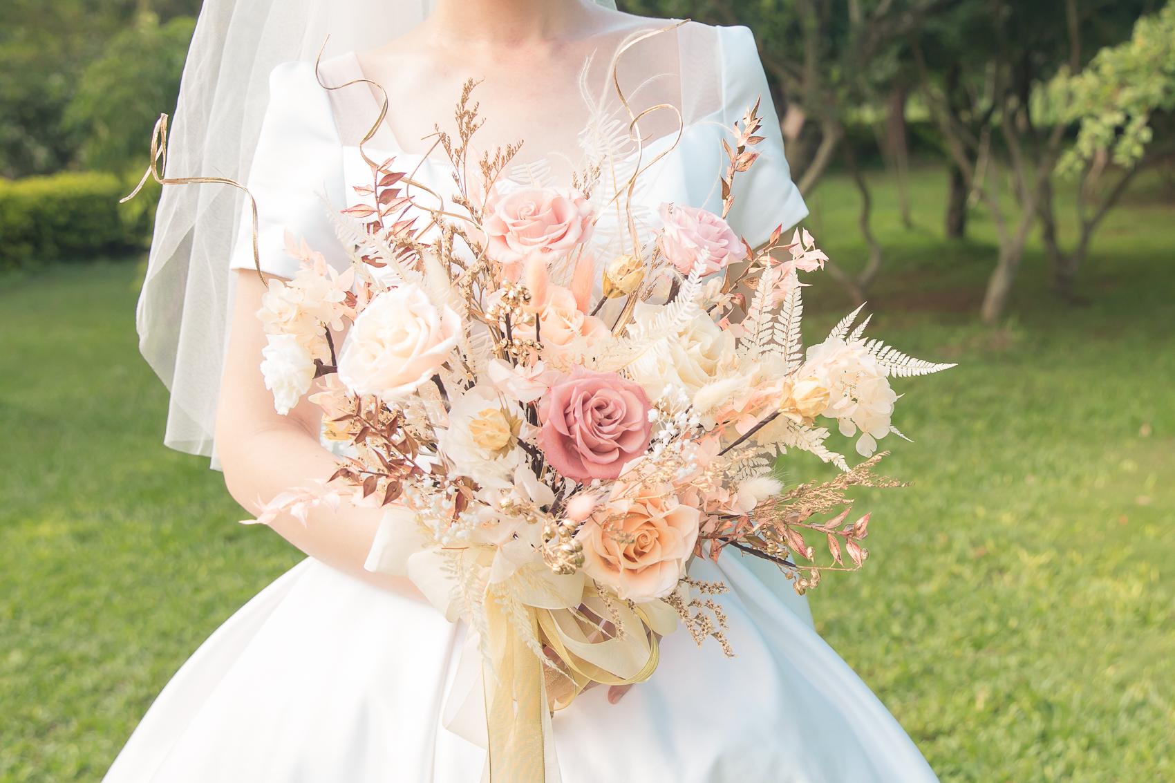 不凋花捧花|適合新娘氣質的甜甜柔柔粉色系捧花