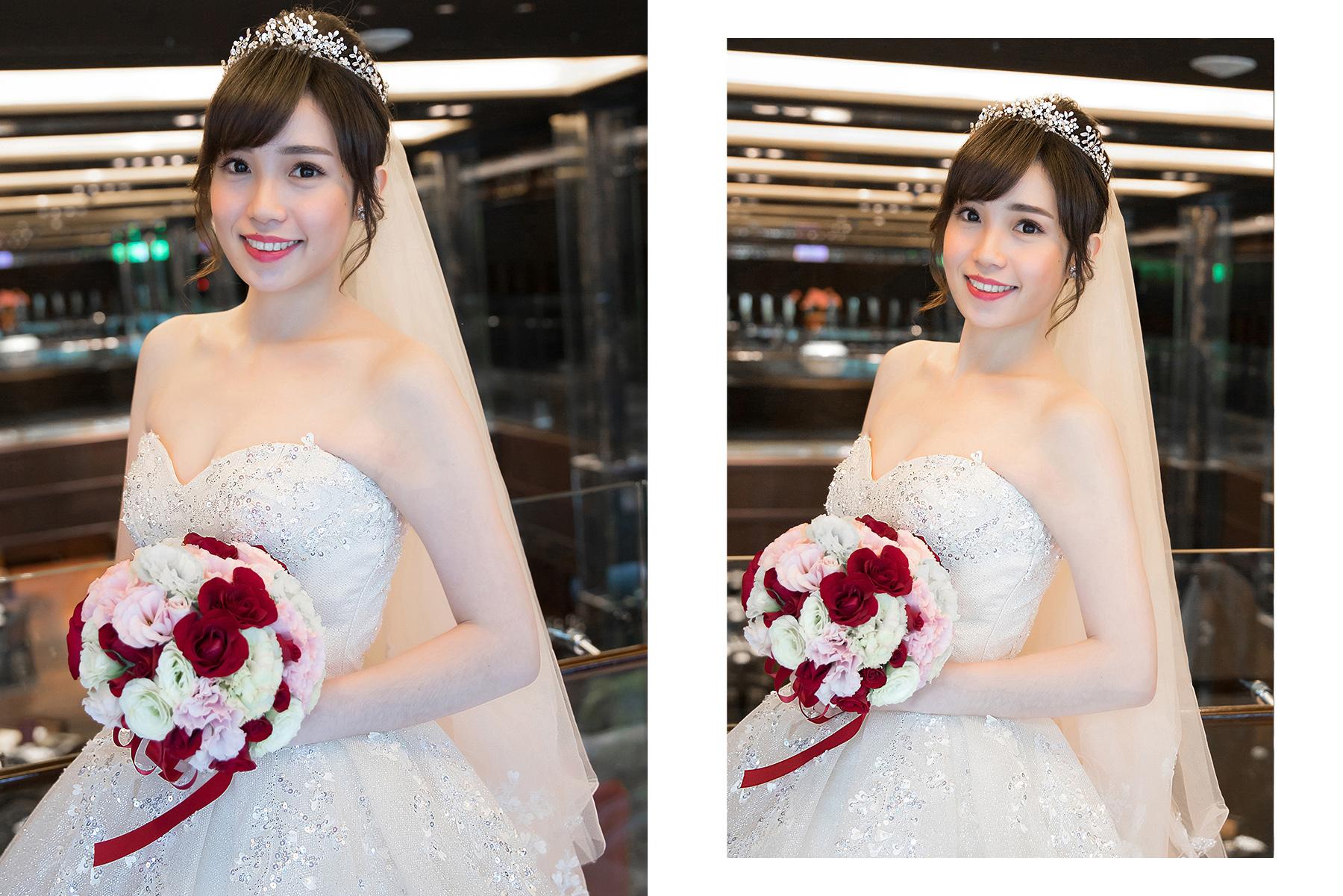 台北新秘|優雅小女人風格的C型瀏海造型變化|故宮晶華婚宴