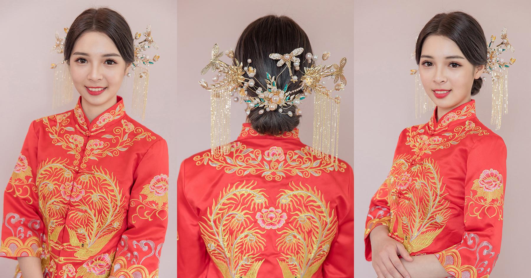新娘造型,新娘髮型,盤髮造型,高雄新秘, 秀禾服造型,褂頭, 秀禾服,中式造型, 秀禾服髮型, 短髮造型, 新秘Yuki|新娘妝容