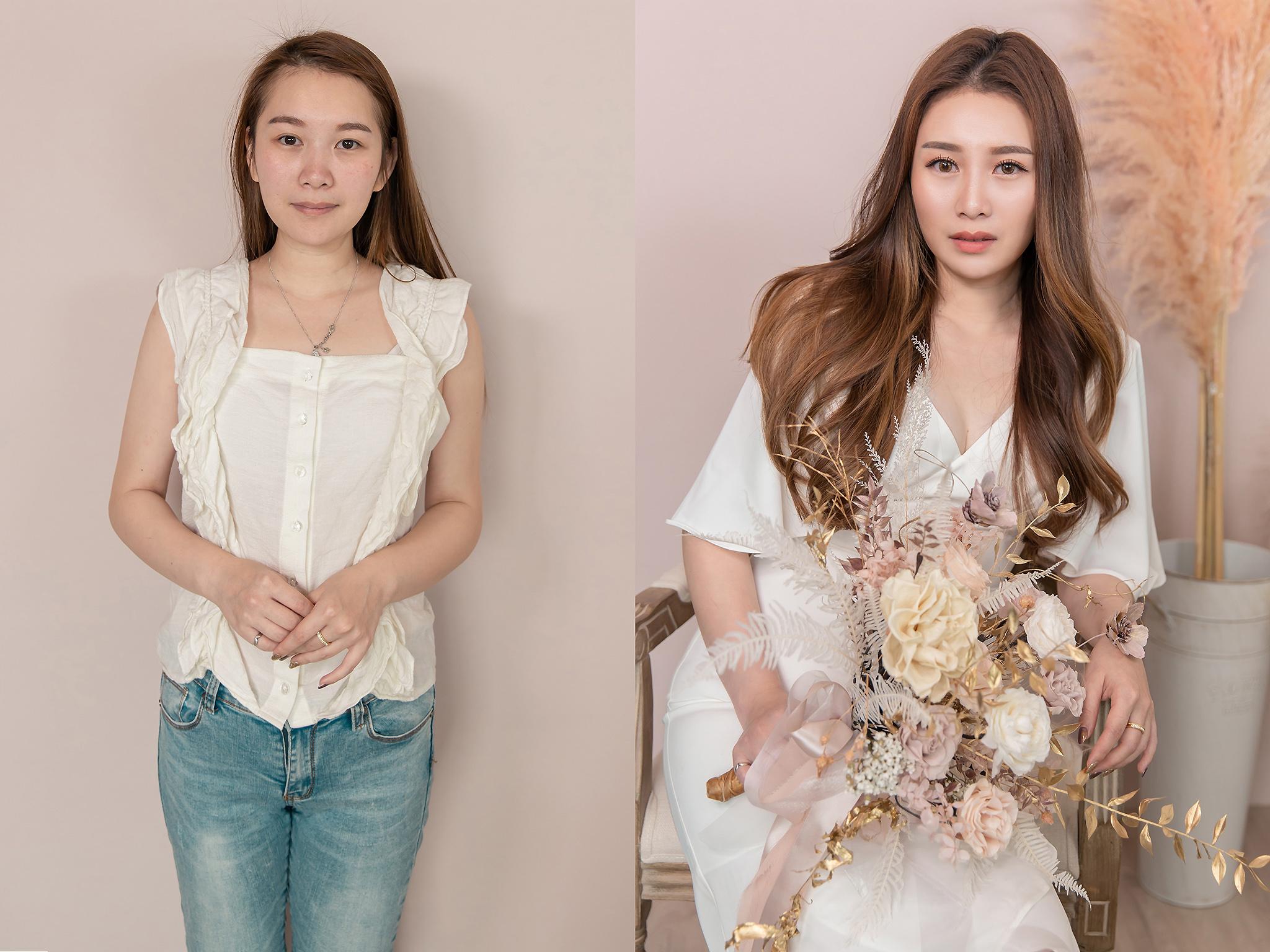 新秘Yuki,新娘秘書,新秘,新娘造型, 眼型調整,高雄新秘,素人改造,妝前妝後
