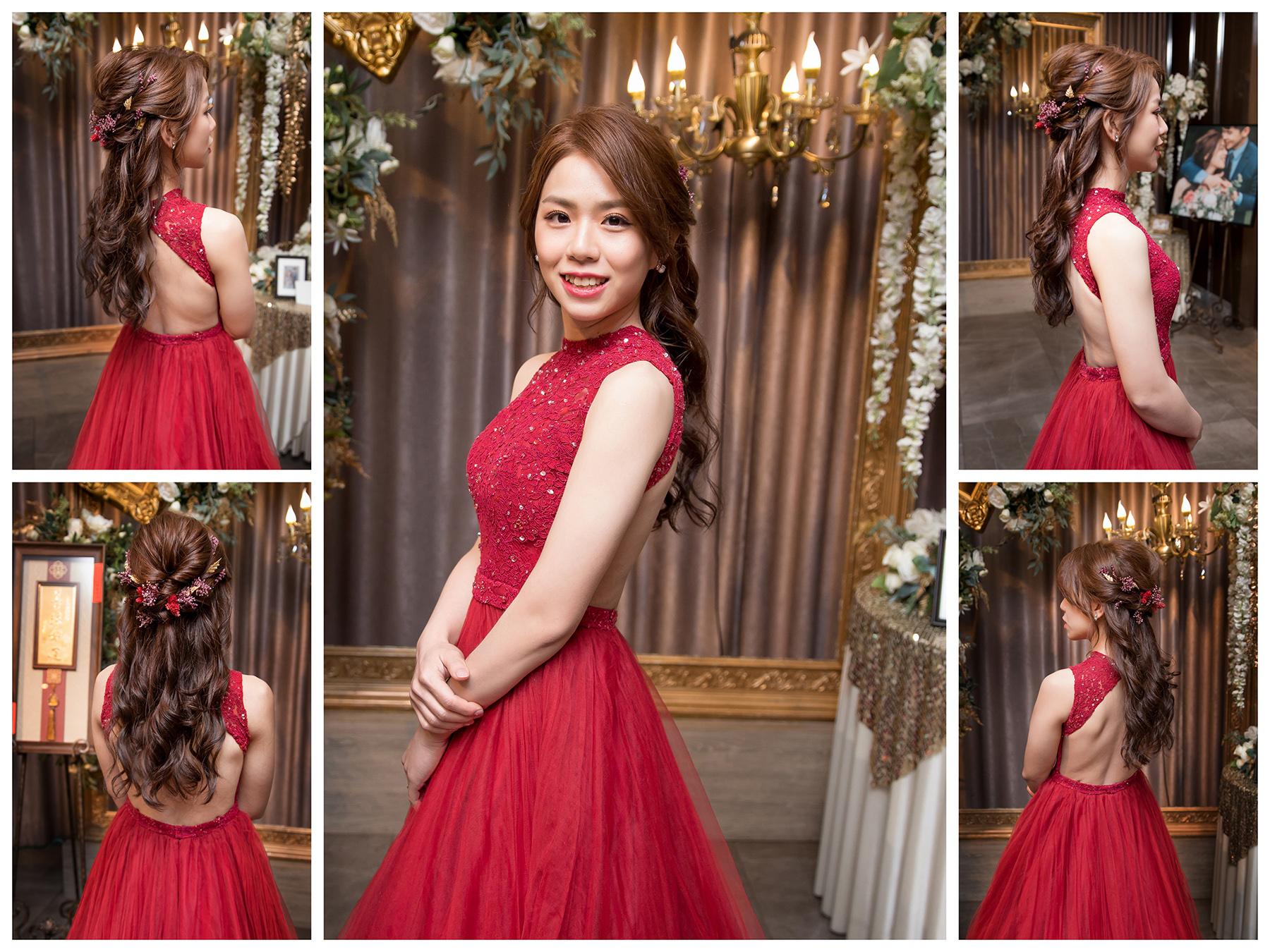 新秘Yuki, 新娘秘書, 新秘, 新娘造型, 紅色禮服造型, 新秘推薦, 新娘妝容, 高雄新秘, 盤髮造型