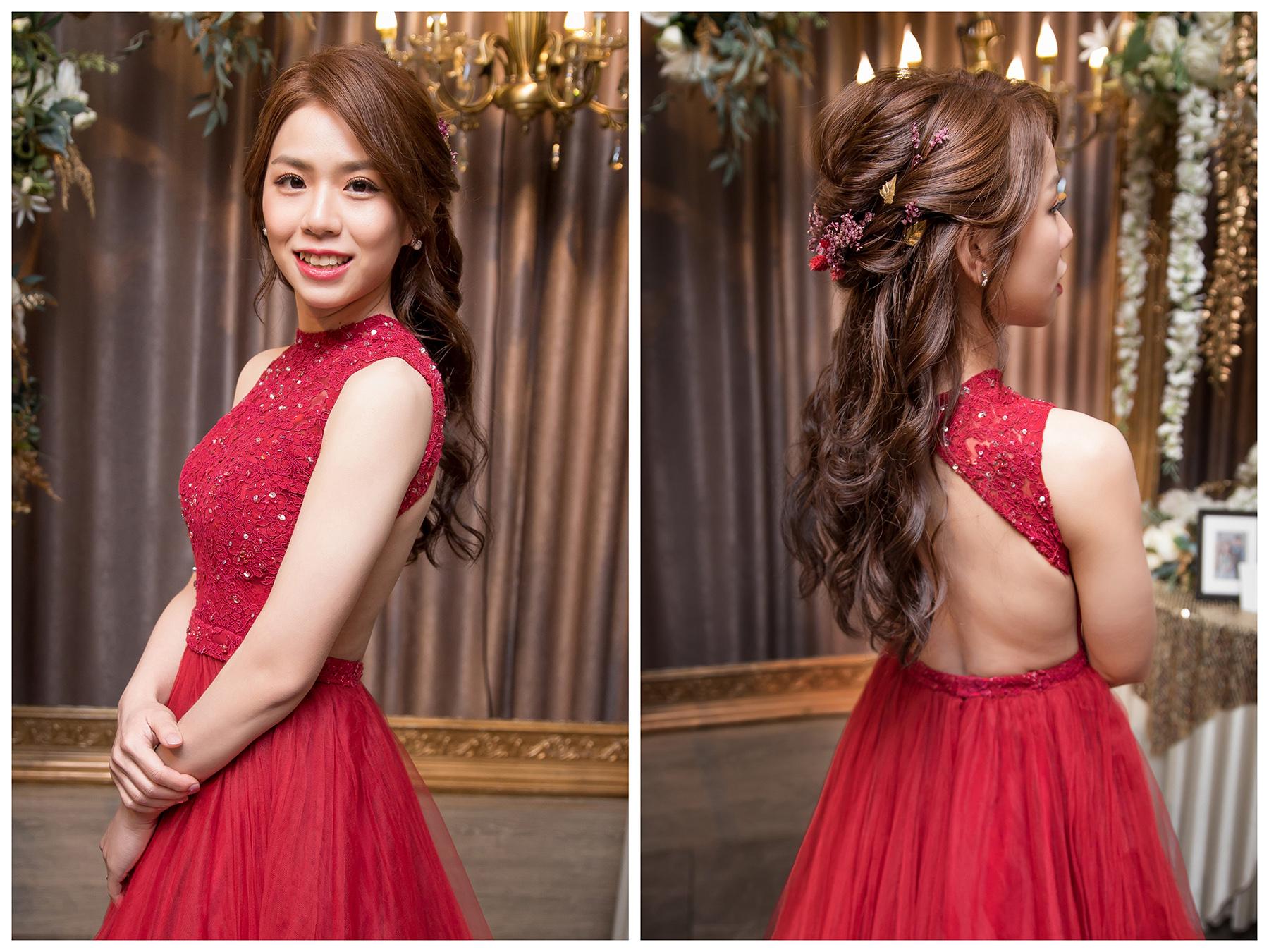 新秘Yuki, 新娘秘書, 新秘, 新娘造型, 紅色禮服造型, 新秘推薦, 新娘妝容, 高雄新秘, 盤髮造型|乾燥花造型|新秘Yuki