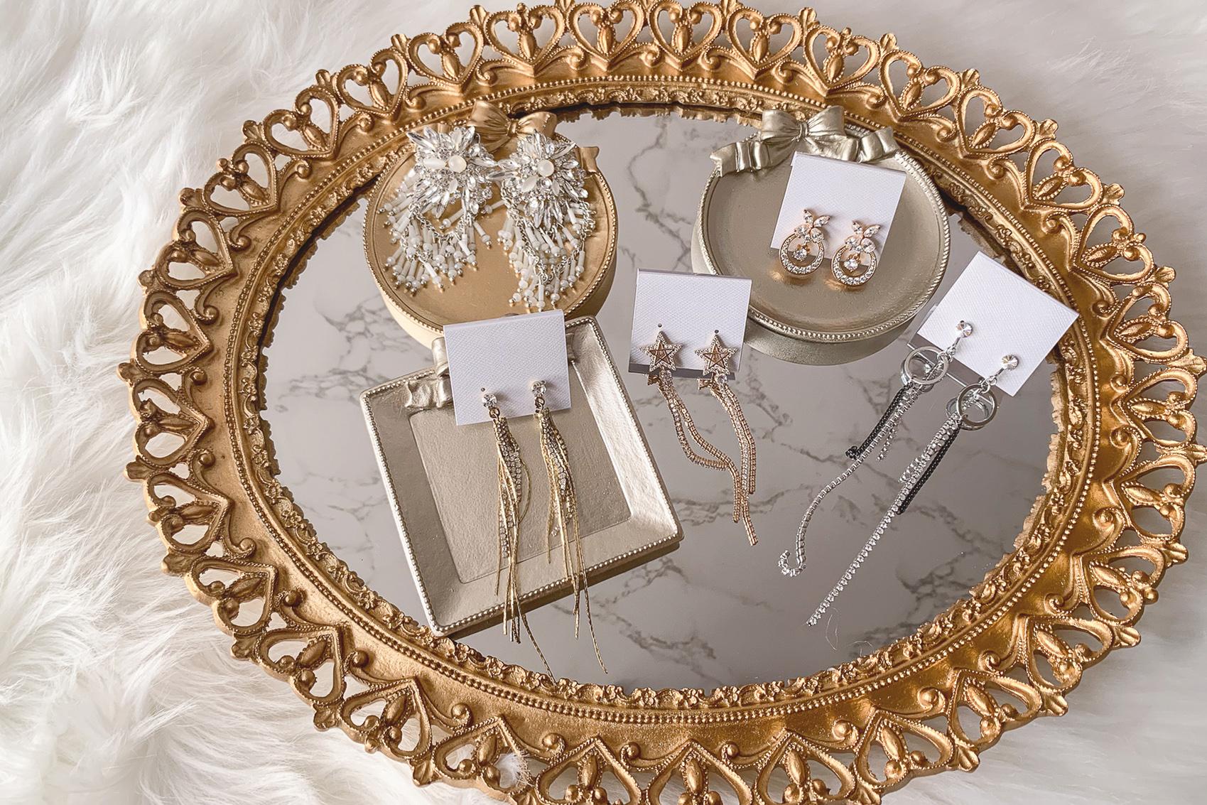 新娘飾品|適合頭髮放下時配戴的垂墜式長耳環