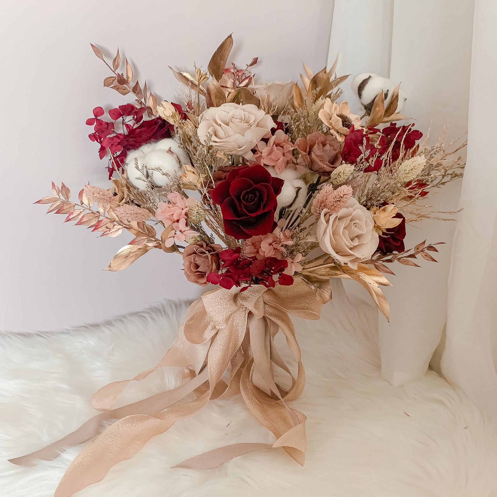 新娘捧花, 紅色系捧花, 捧花新秘, 不凋花捧花, 高雄捧花, 高雄不凋花, 高雄永生花