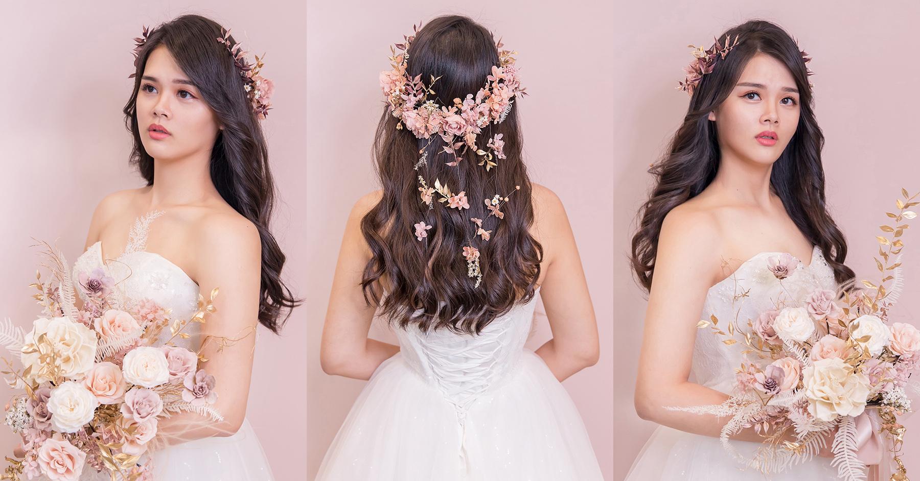 新秘Yuki, 新娘造型, 新娘髮型, 高雄新秘, 花環造型, 白紗造型,不凋花花環, 放髮造型