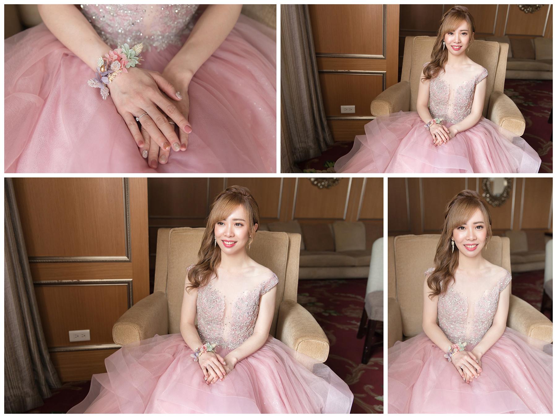 新秘Yuki, 新娘秘書, 新秘, 新娘造型, 新秘推薦,粉色禮服 ,新娘妝容, 高雄新秘, 盤髮造型