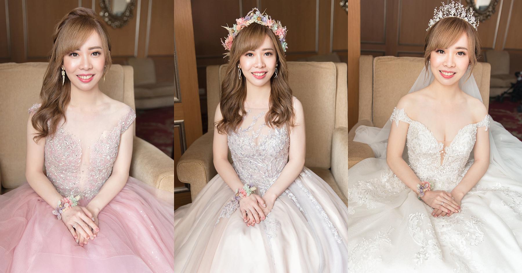 新秘Yuki, 新娘秘書, 新秘, 新娘造型, 白紗造型, 新秘推薦,粉色禮服 ,新娘妝容, 高雄新秘, 盤髮造型,白紗