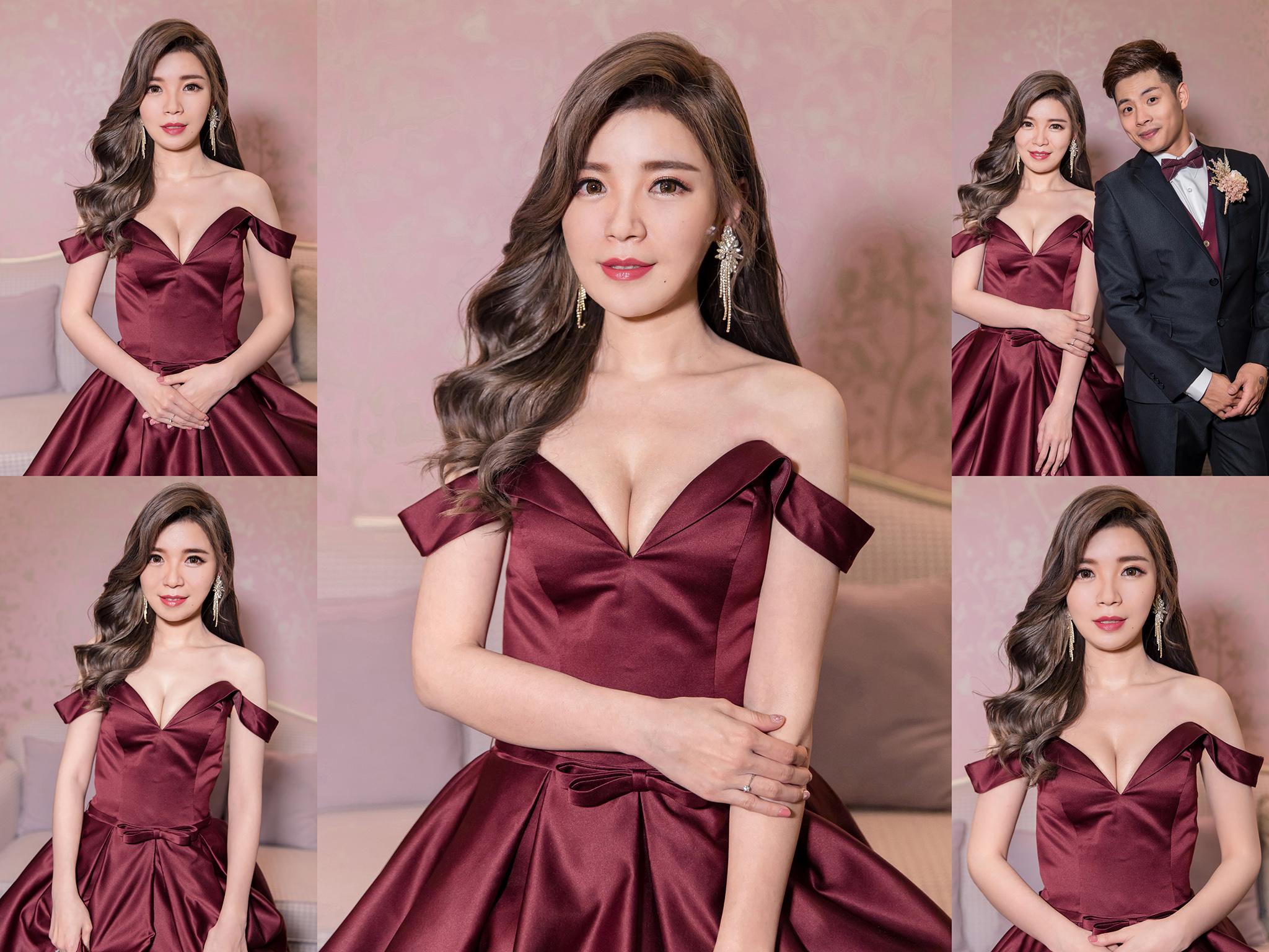 新秘Yuki, 新娘秘書, 新秘, 新娘造型, 送客造型, 新秘推薦, 華麗風造型, 桃園新秘, 側邊髮造型,酒紅色禮服