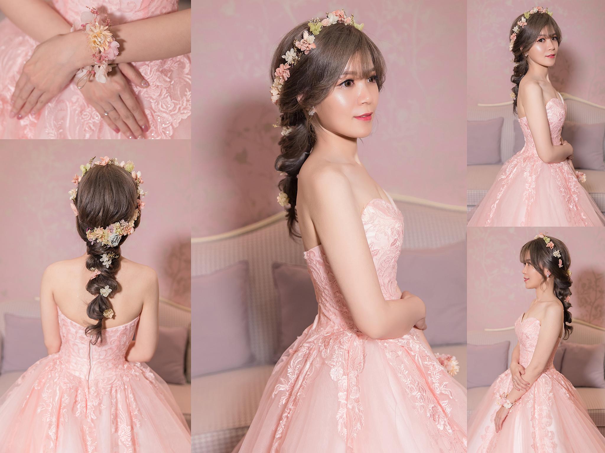 新秘Yuki, 新娘秘書, 新秘, 新娘造型, 敬酒造型, 新秘推薦, , 桃園新秘, 不凋花造型,粉色禮服
