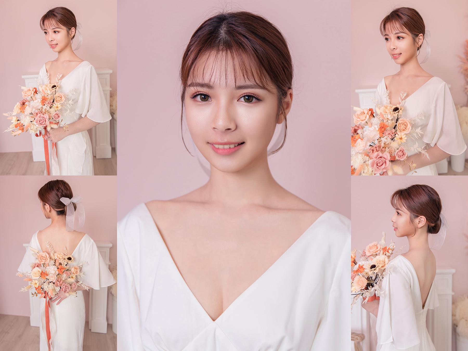 新秘Yuki, 新娘造型, , 新娘髮型, 高雄新秘, 韓系造型, 空氣劉海, 魚尾禮服, 低盤髮造型, 蝴蝶結