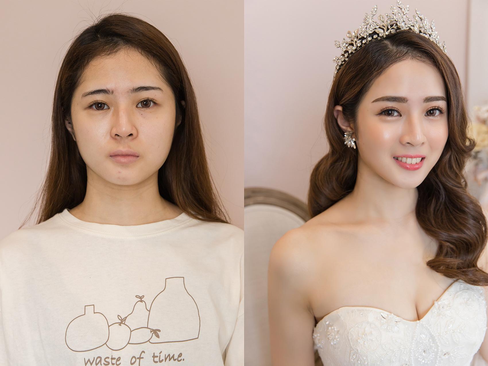 新秘Yuki, 新娘秘書, 新秘, 新娘造型, 公主風造型, 高雄新秘, 素人改造, 妝前妝後, 皇冠造型, 混血感, 高雄新秘